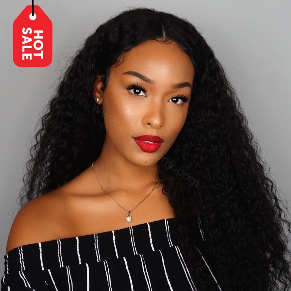 180% density Indian Remy Hair 360 Lace Wigs Loose Curl