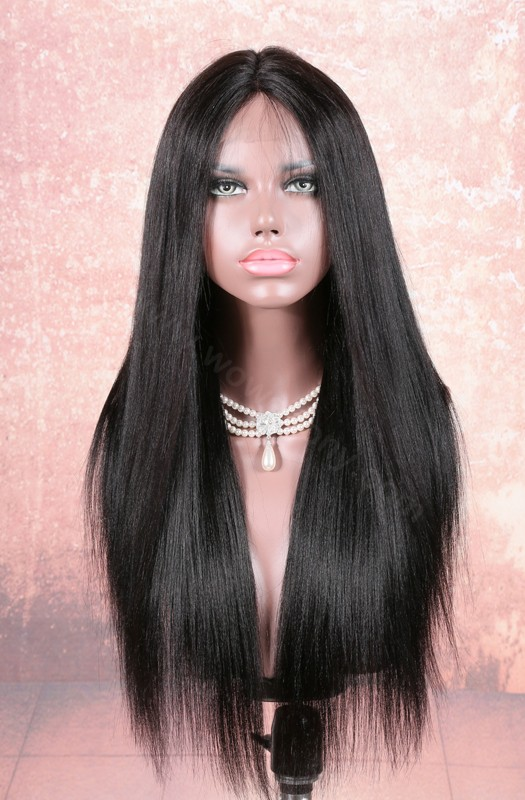 Stock Lace Part Lace Wigs Indian Remy Hair Yaki Straight 18 Inches, Color #1B, 180% Hair Density [LPLW12]