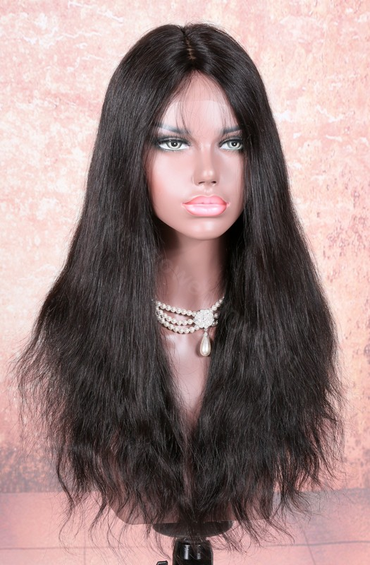 In Stock Indian Remy Hair Natural Straight Glueless Silk Part Lace Wig Middle Part, 18 Inches, 180% Hair Density, Natural Color [SPLW20]
