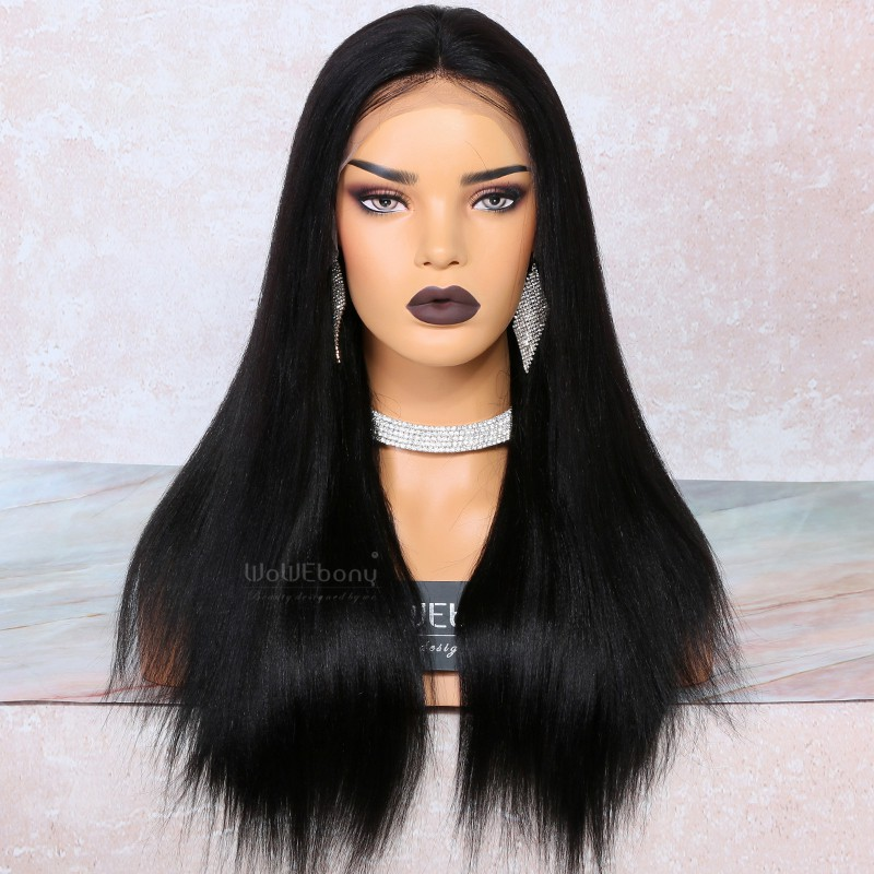 WowEbony 4.5 inch Deep Part High Density Yaki Straight Lace Front Wigs 250% Density, Indian Remy Hair [IR4.5LFYK1]
