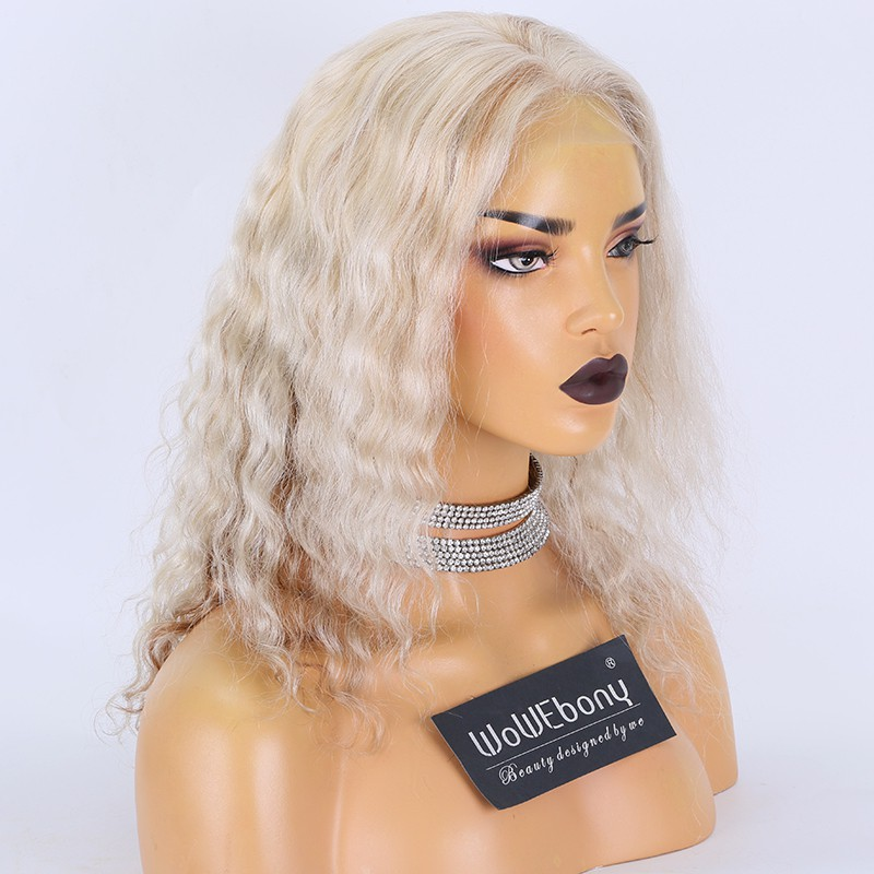 Clearance Sale:WoWEbony Brazilian Virgin Hair 14inches 130% Density Natural Straight  #white/brown Highlight Color Medium Size HD Glueless Full Lace Wigs [DeeDee]
