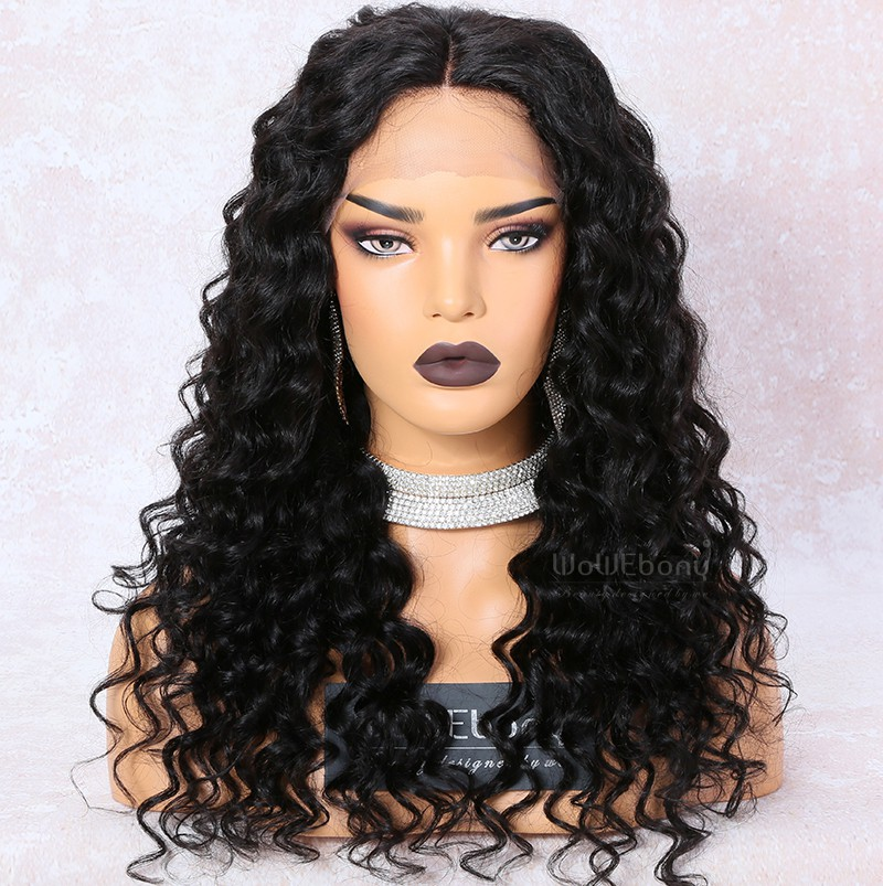 WowEbony Lace Front Wigs Indian Remy Hair, Curly Middle Part Lace Frontal Wig, 150% Density, Color #1B, Medium Cap Size [LFW101]