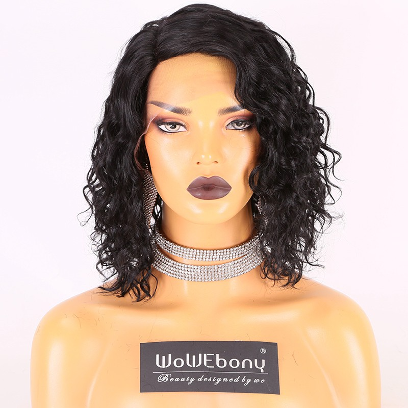 Stocked WowEbony Human Hair 10 inches #1 Color 130% Density Curly Bob M Size Curve Part Glueless Lace Wigs [Curve06]