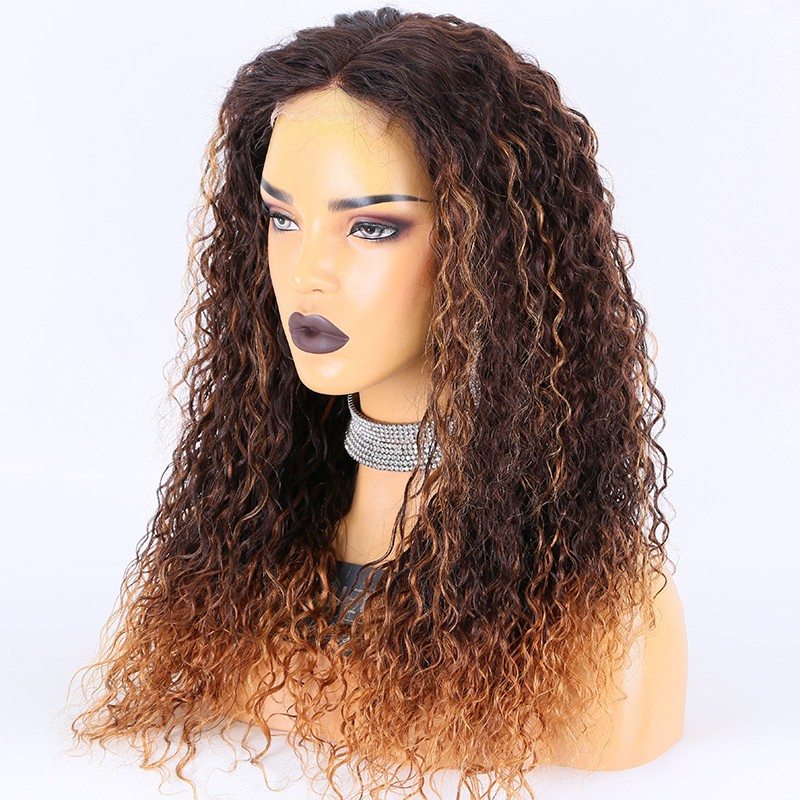 WoWEbony Peruvian Virgin Human Hair 20inches 200% Density Highlight Color Curly 3.5X4 HD Lace Closure Wigs [Emily]