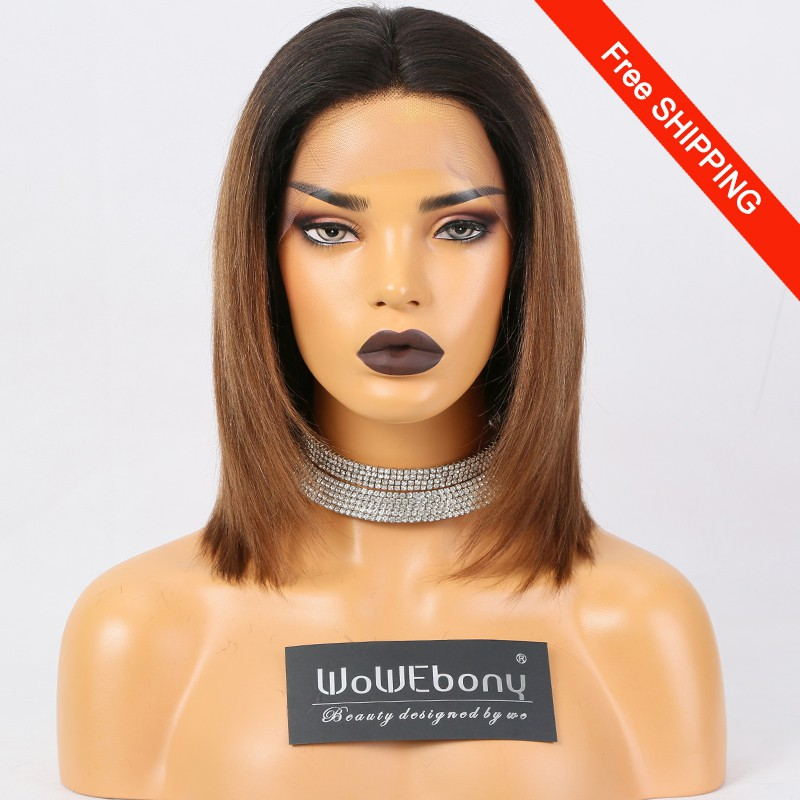 WowEbony Ombre Bob Lace Front Wigs Indian Remy Human Hair, Yaki Straight, #NC/#30 [LFW106]