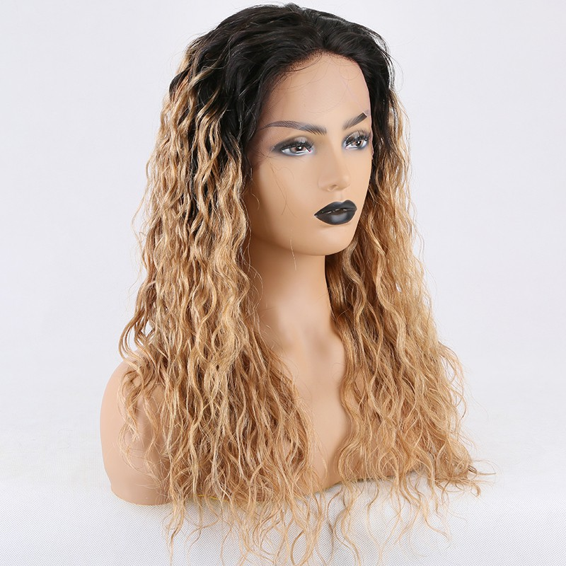 Stocked WoWEbony 18inches Indian Remy Hair 25mm Curly Ombre Natural Color to #27A Color Lace Front Wigs [Iris]