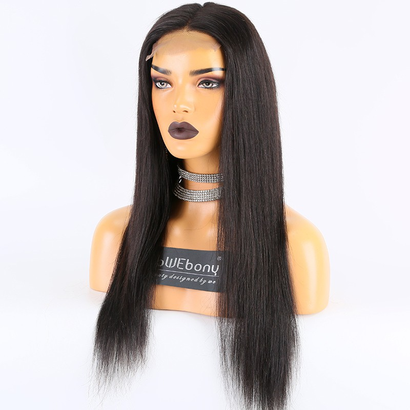 WoWEbony Indian Remy Human Hair Natural Straight 4x4 Lace Closure Wigs [Closurewig01]