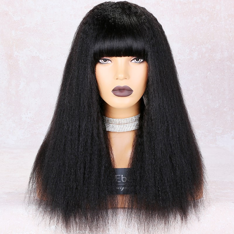 WowEbony Full Bangs Kinky Straight Glueless Silk Top Non-Lace Wig Indian Remy Hair [STNLW03]