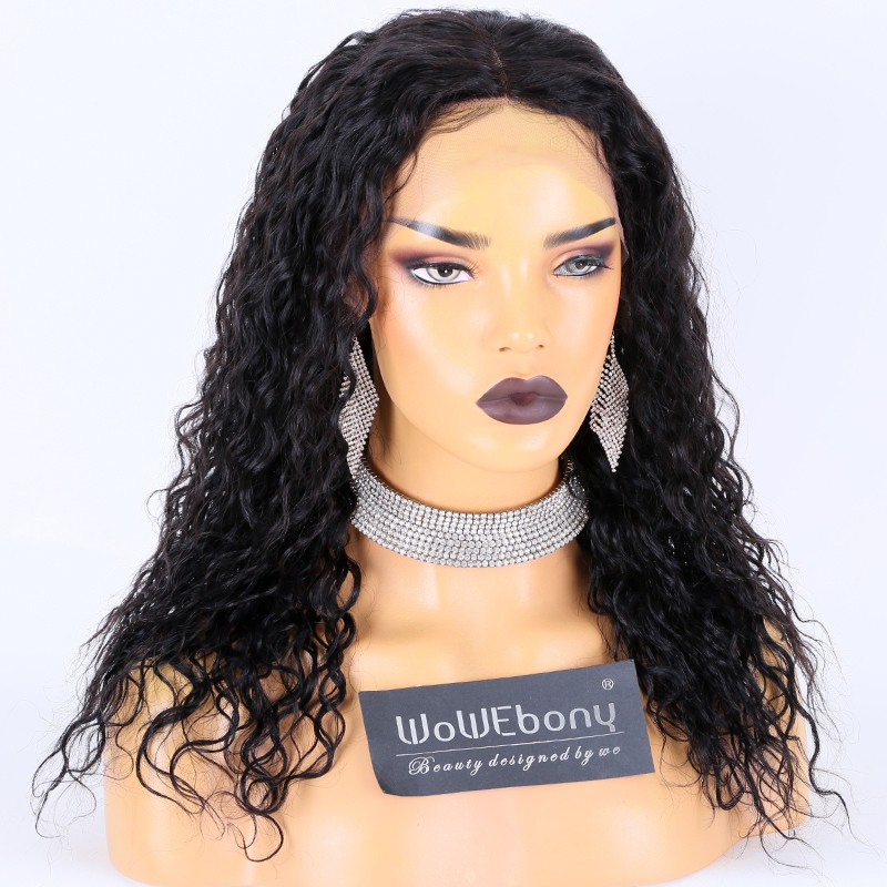 Clearance Sale:WoWEbony Indian Remy Hair 16inches 180% Density Curly Style  #1B Color Medium Size Lace FrontalWigs [CLFW01]