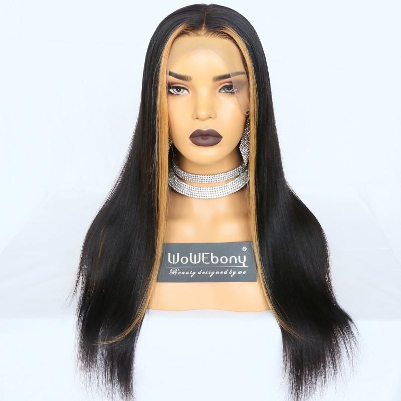WowEbony Indian Remy Hair Hightlighted Fringe Yaki Straight 360 Lace Wigs [Tina]