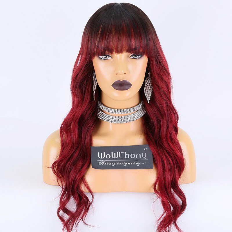 WoWEbony Indian Remy Hair Full Bangs Ombre Burgundy Wavy Hair Glueless 3.5 x 3 Silk Top Closure Wig [Bangs10]