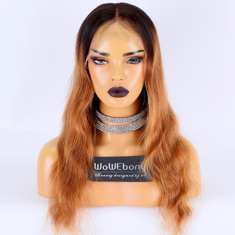 Clearance Sale:WoWEbony Indian Remy Hair 18inches 150% Density Natural Straight Style Color As Picture Medium Size 13x4 Lace Front Wigs [CLFW16]