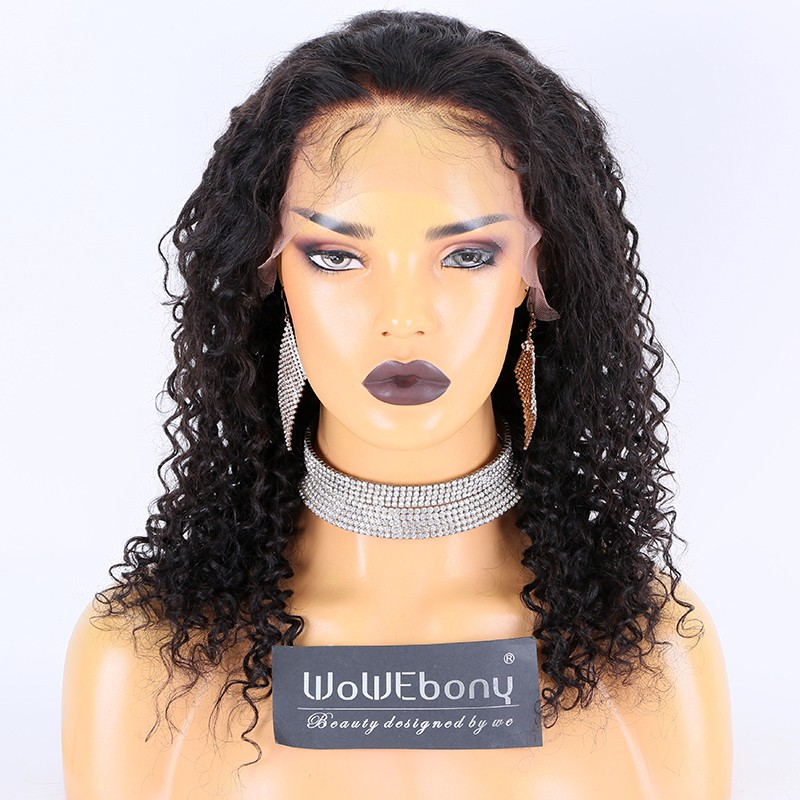 Clearance Sale:WoWEbony Indian Remy Hair 18inches 180% Density Curly Style #2 Color Medium Size  13x4 Lace Front Wigs [CLFW14]