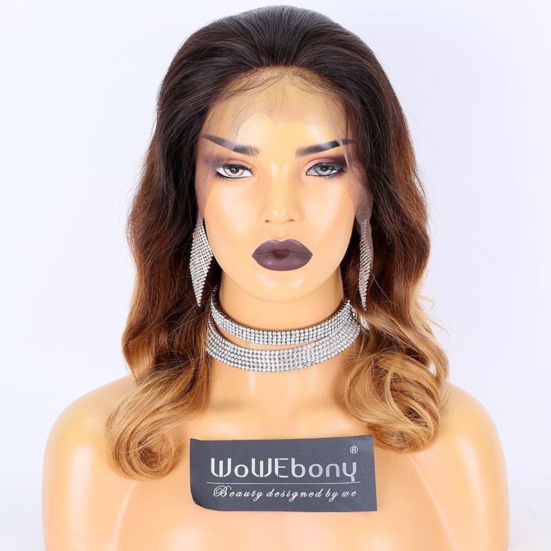 Clearance Sale:WoWEbony Brazilian Virgin Hair 14inches 180% Density Wave Style Ombre Brown/ Camel Color Medium Size 13x4 Lace Front Wigs [CLFW23]