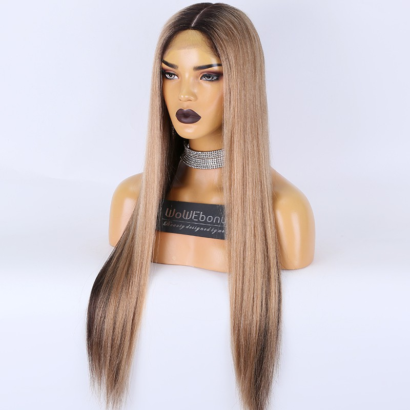 Clearance Sale:WoWEbony Brazilian Virgin Hair 26inches 130% Density Yaki Straight Ombre Color Petite Size Transparent Lace 5x5 Silk Top Full Lace Wig [C52]