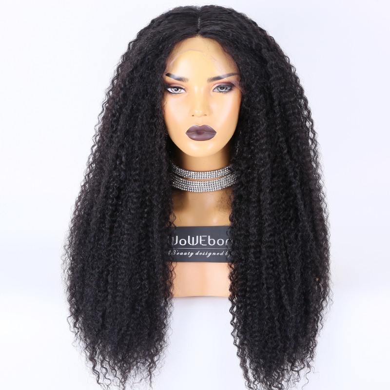 Clearance Sale:WoWEbony Brazilian Virgin Hair 24inches 150% Density Kinky Curly #1B Color Medium Size Brown Lace 4x4 Silk Top Full Lace Wig [C56]