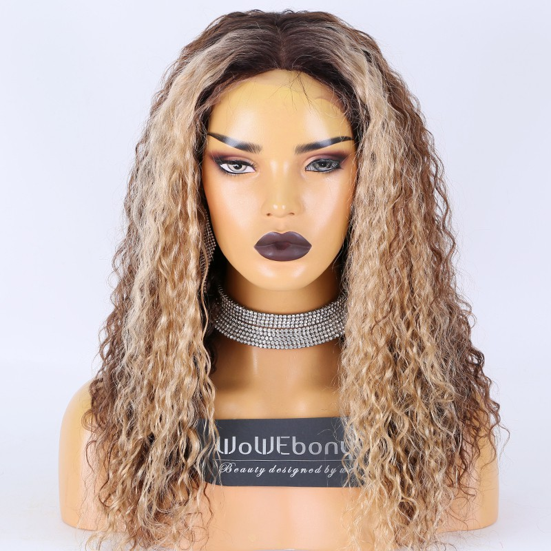 Clearance Sale:WoWEbony Indian Remy Hair 18inches 150% Density Brazilian Curls #4/6/27 Highlight Color Medium Size Light Brown HD Lace 4x4 Silk Top Full Lace Wig [C59]