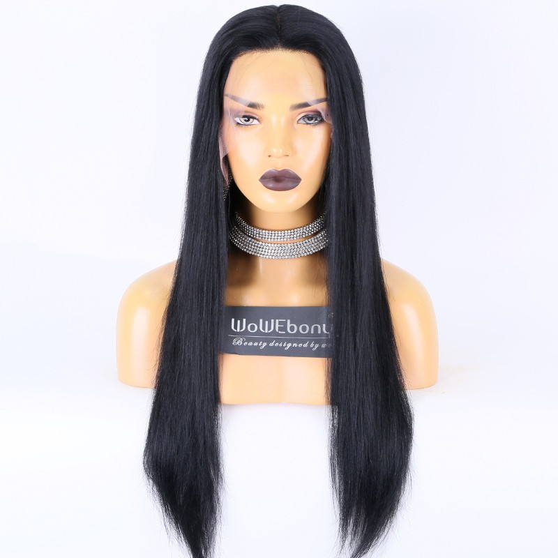 Same Day Shipping:WoWEbony Indian Remy Hair 22inches 130% Density Yaki Straight #1 Color M Size 13x4.5 Lace Front Wigs [CLFW28]