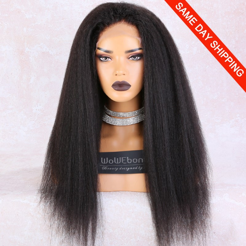 WowEbony Lace Front Wigs Indian Remy Human Hair Kinky Straight, Pre-Plucked Hairline, Pre-Bleached Knots, Pre-Added Elastic Band, 22 Inches, Natural Color [LFW092]
