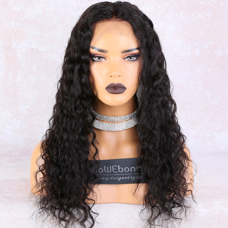 WowEbony 6 inches Deep Part Curly Lace Front Wigs Indian Remy Hair, 150% Density, Natural Color, Pre-Plucked Hairline, Pre-Bleached Knots, Pre-Added Elastic Band, 22 Inches, Natural Color [DLFW07]
