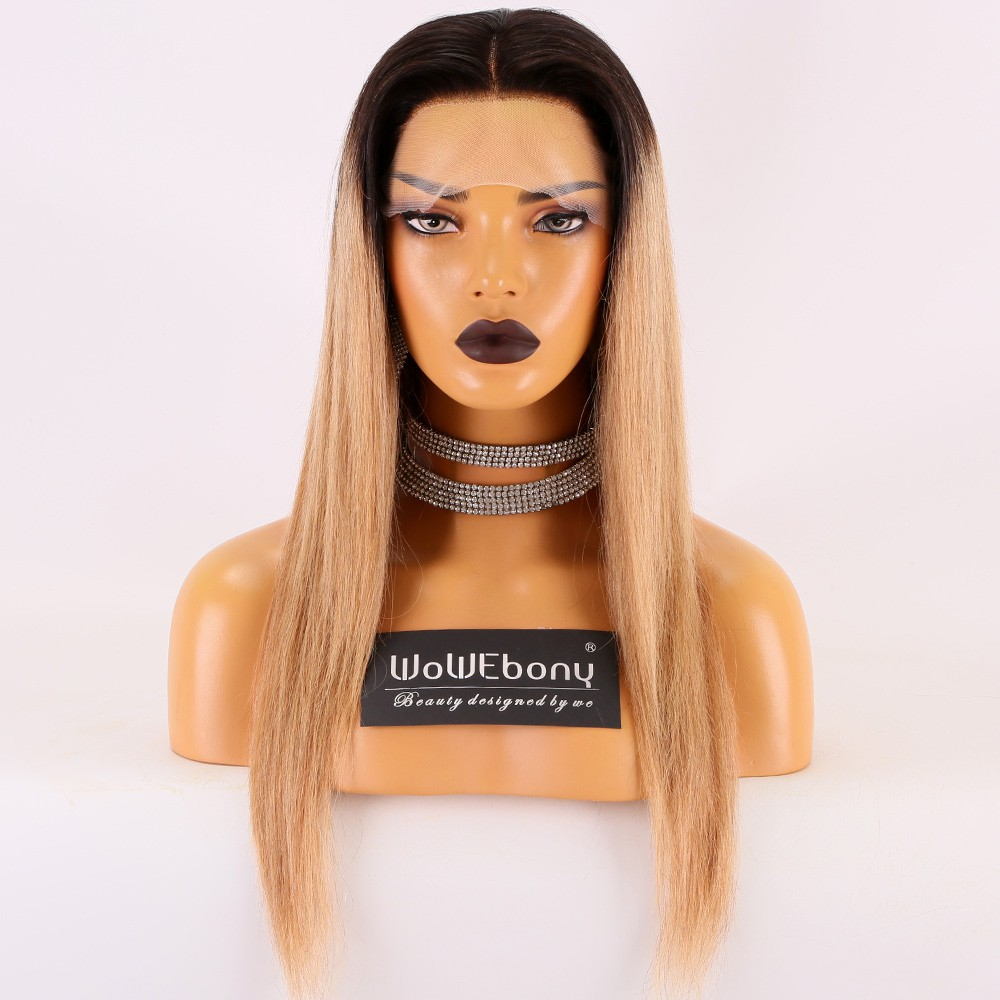 Same Day Shipping Stocked WowEbony Human Hair 18inches 130% Density Natural Straight Ombre Dark Root To Blonde Color TNC/27A Glueless Lace Wigs [Jude]