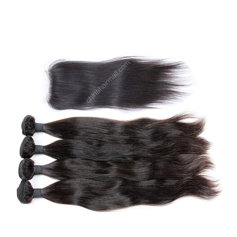 Brazilian virgin unprocessed human hair wefts and 4*4 Lace Closure Natural Straight 4+1 pieces a lot Hair Bundles 95g/pc  [BVNS4+1]