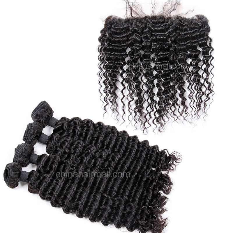 Peruvian virgin unprocessed human hair wefts and 13*4 Lace Frontal Deep Wave 4+1 pieces a lot Natural Color Hair Bundles 95g/pc [PVDWLF4+1]