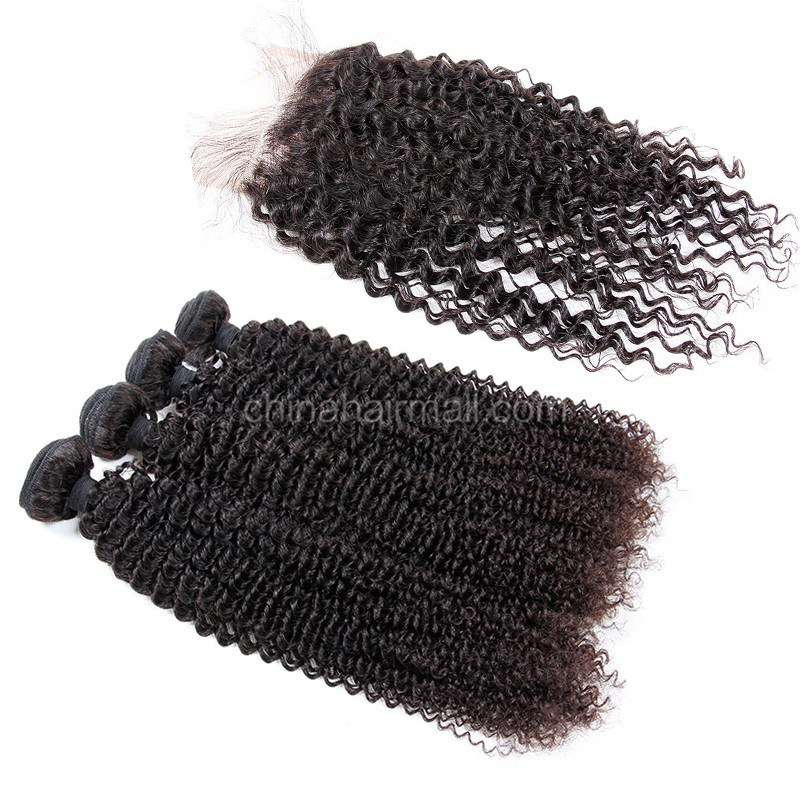 Peruvian virgin unprocessed human hair wefts and 4*4 Lace Closure Kinky Curly 4 +1 pieces a lot Natural Color Hair Bundles 95g/pc [PVKC4+1]