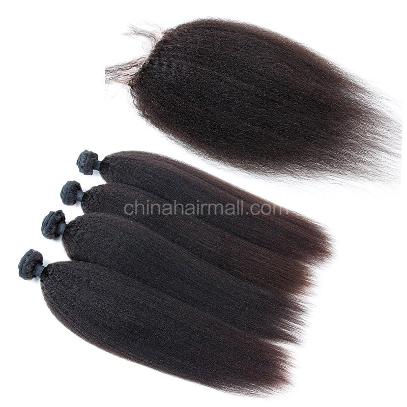 Brazilian virgin unprocessed human hair wefts and 4*4 Lace Closure Kinky Straight 4+1 pieces a lot Hair Bundles 95g/pc [BVKS4+1]