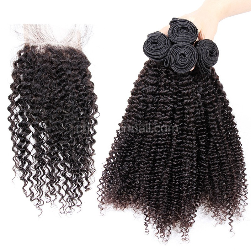 Malaysian virgin unprocessed natural color human hair wefts and 4*4 Lace Closure Kinky Curly 4+1 pieces a lot Hair Bundles 95g/pc [MVKC4+1]