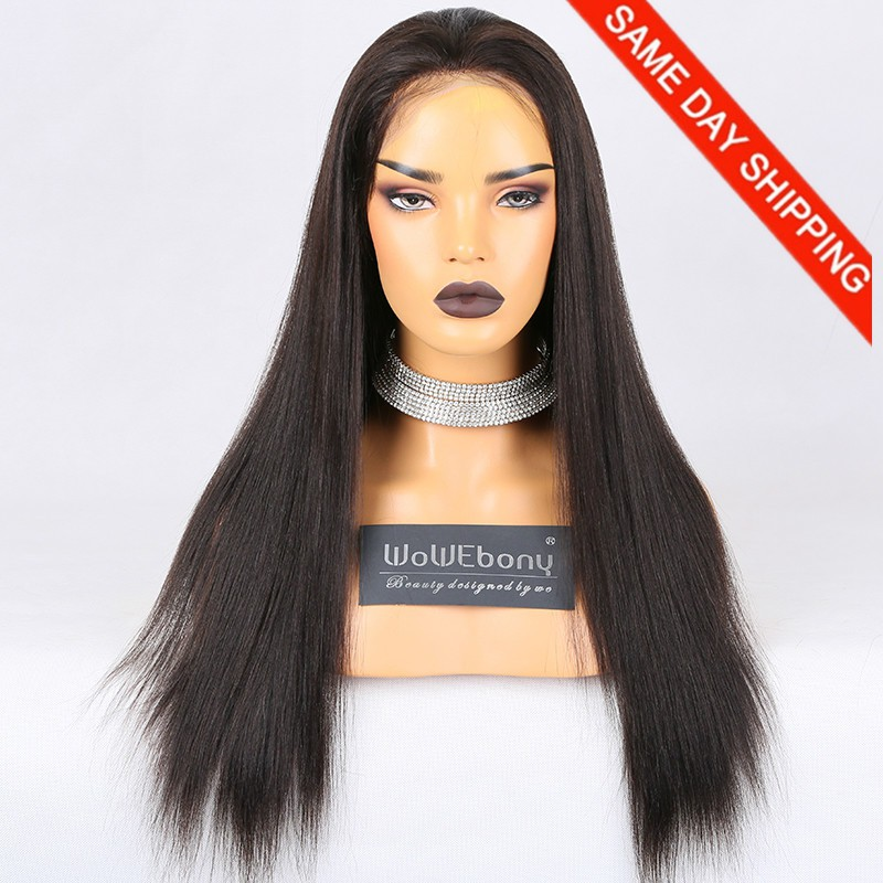 Same Day Shipping Clearance Sale 22 inches Full Lace Wigs Indian Remy Hair #2 Color 130% Density Large cap size Light Yaki