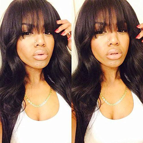 WoWEbony Indian Remy Hair Full Bangs Wavy Hair Glueless 3.5 x 3 Silk Top Closure Wig [Bangs06]