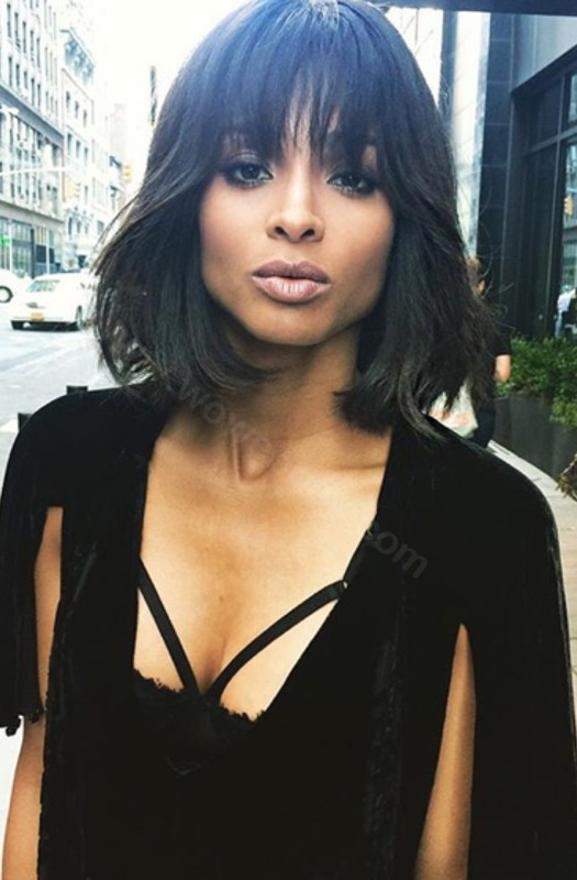 Ciara Style Glueless Lace Front Wigs Indian Remy Hair Wave Bob wig with Bangs