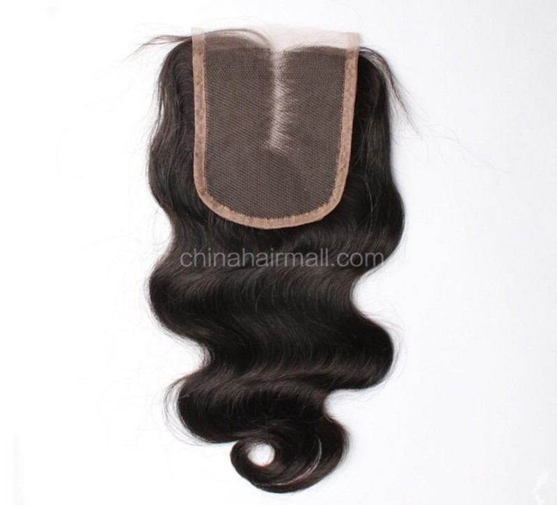 Peruvian Virgin Human Hair 4*4 Popular Lace Closure Body Wave Natural Hair Line and Baby Hair [PVBWTC]