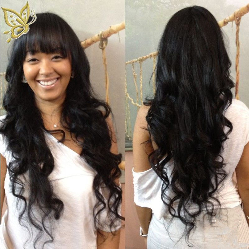 Indian Remy Hair Full Bangs New Body Wave Glueless Silk Top Non-Lace Wig