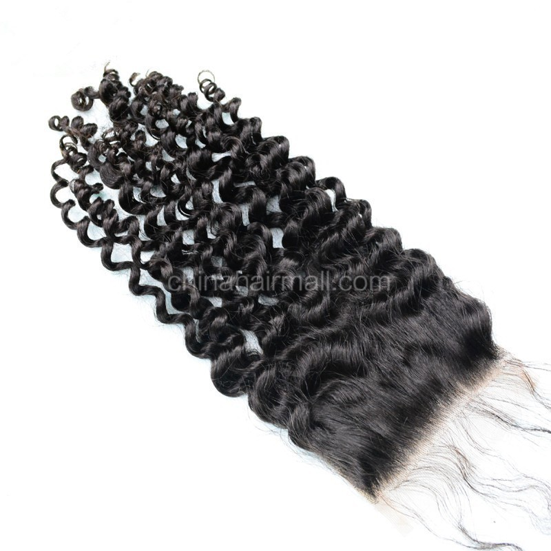 Peruvian Virgin Human Hair 4*4 Popular Lace Closure Brazilian Curly Natural Hair Line and Baby Hair [PVBRCTC]
