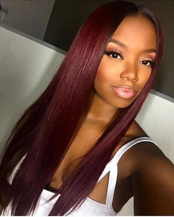 WowEbony Indian Remy Hair Natural Straight Dark Roots Burgandy Hair 360 Wig [Kathy]
