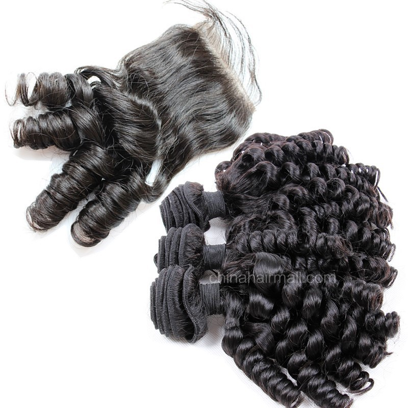Brazilian virgin unprocessed human hair wefts and 4*4 Lace Closure Spiral Curly 3 +1 pieces a lot Hair Bundles 95g/pc [BVSC3+1]