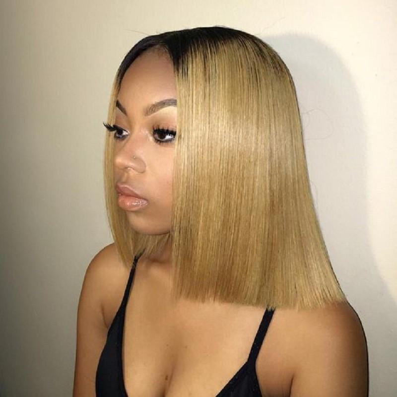 Glueless Lace Front Wigs Peruvian Virgin Hair Ombre Bob Wigs