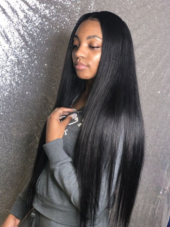 WowEbony 30 Inches Long Hair Yaki Straight 6 Inches Deep Part Lace Front Wigs Indian Remy Human Hair,150% density [DLFW09]