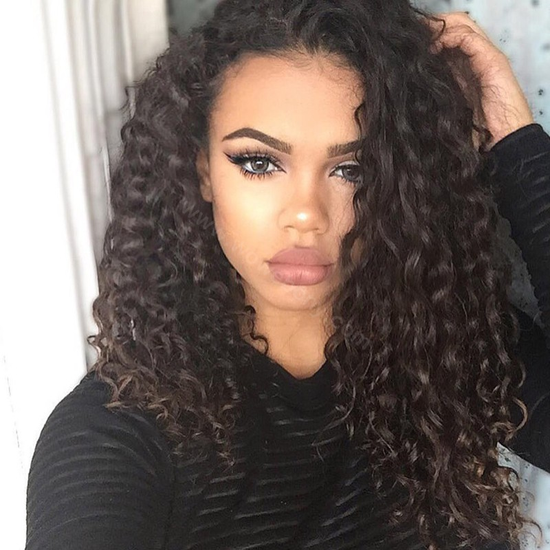Glueless Full Lace Wigs Indian Remy Hair Loose Curly
