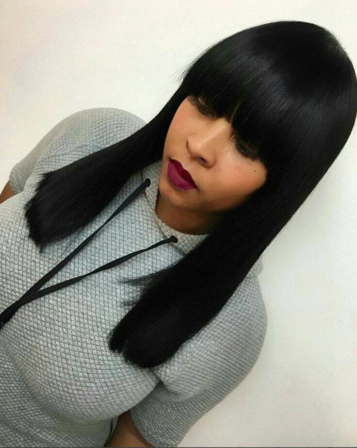 Indian Remy Hair Full Bangs Regular Yaki Glueless Silk Top Non-Lace Wigs