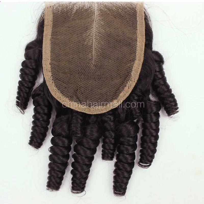 Peruvian Virgin Human Hair Popular 4*4 Lace Closure Funmi Curly Natural Hair Line and Baby Hair [PVFCTC]