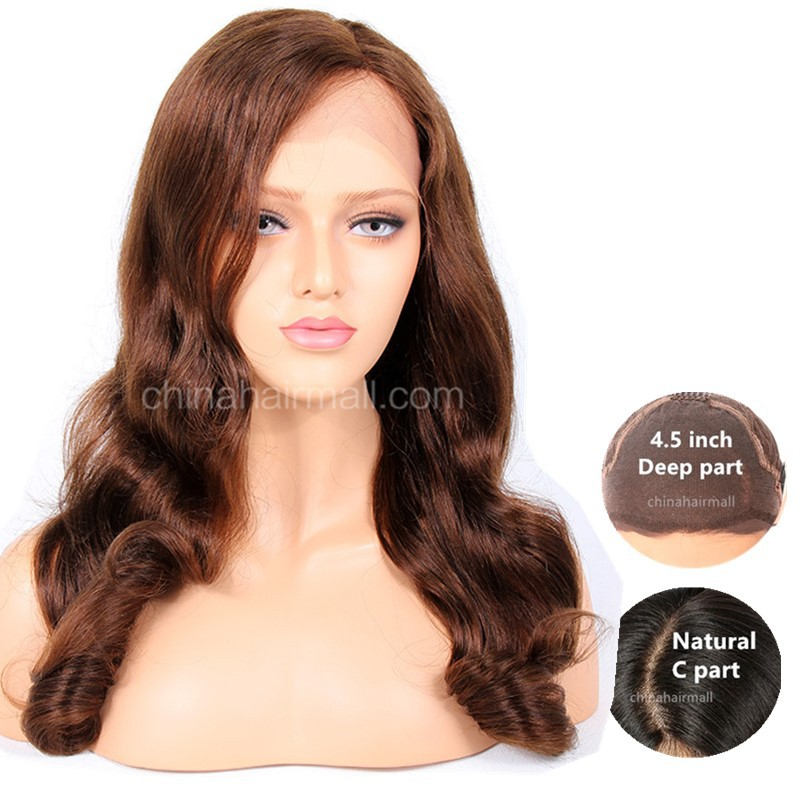 WowEbony 4.5 inches Deep Part Fashion Wave Lace Front Wigs Indian Remy Hair, #4  [IR4.5DPLFWFW]