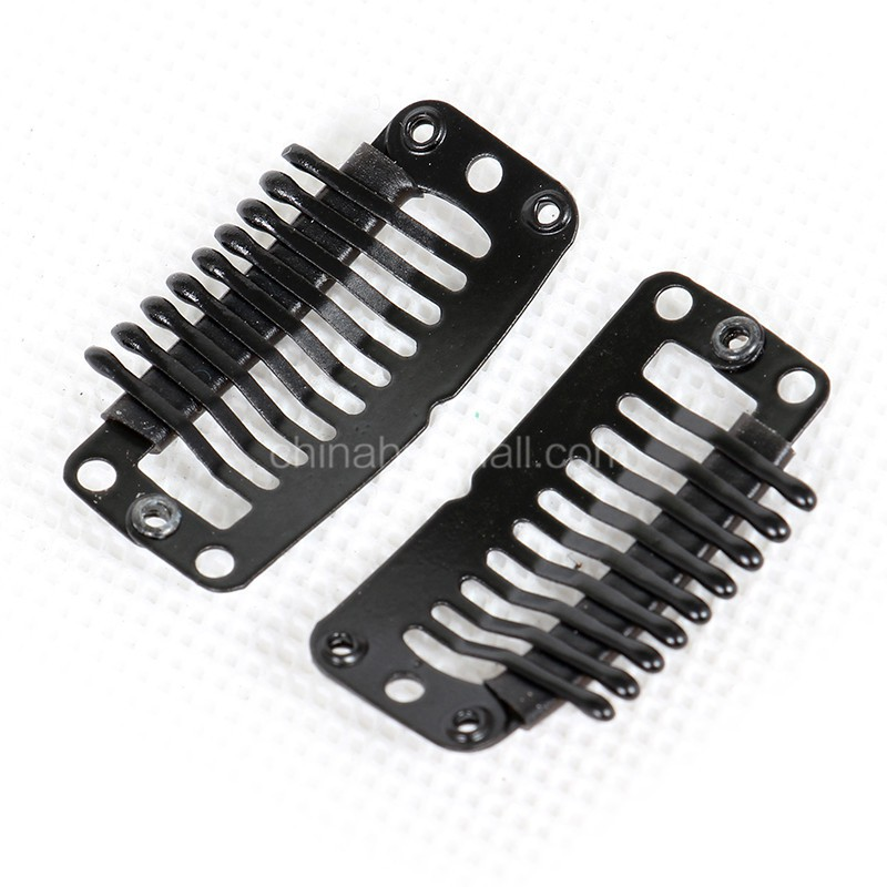 20pcs Black 9 Teeths Clips Snap Clips For Hair Extensions Weft Wig Clips