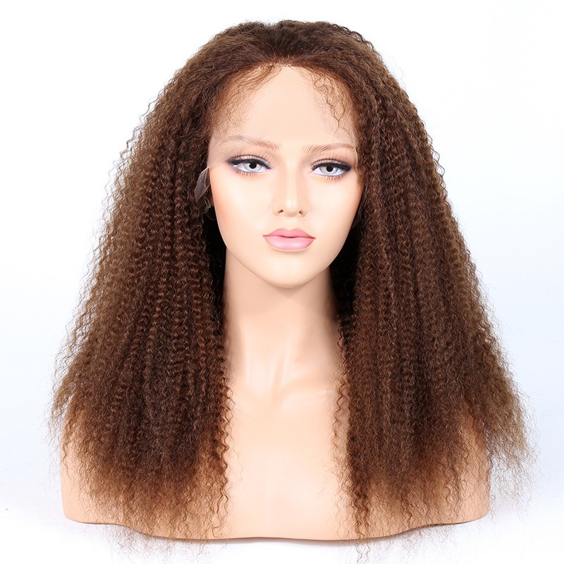 Glueless Lace Front Wigs Indian Remy Hair Afro Kinky Curl #4 Color