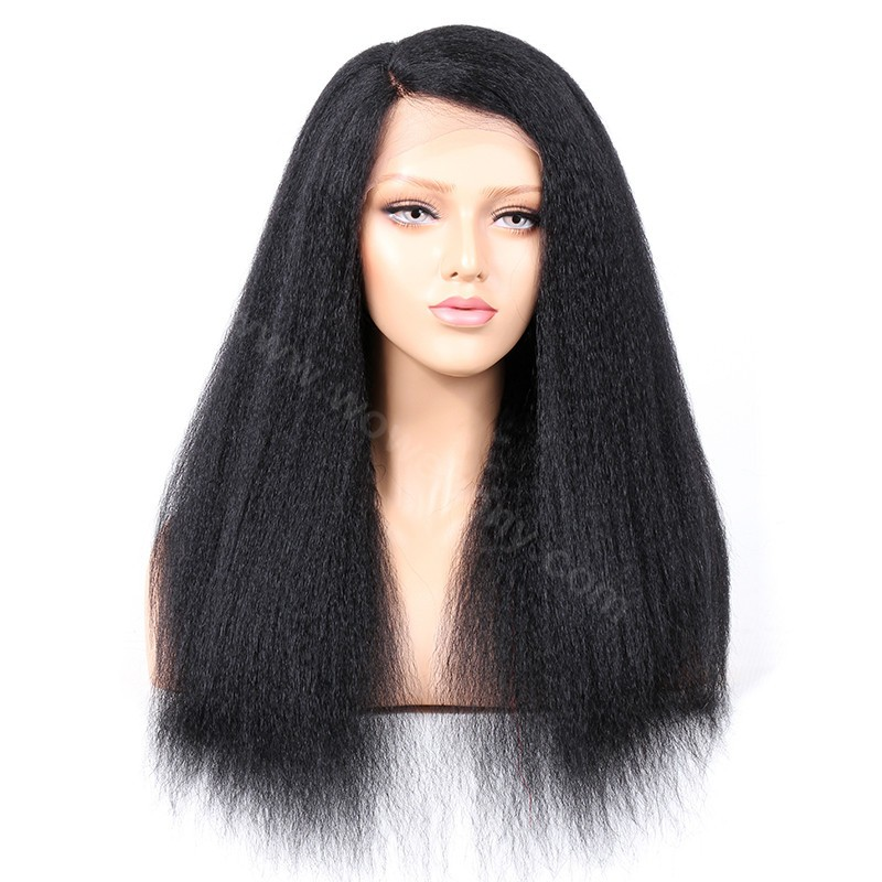 Indian Remy Hair Kinky Straight Glueless Lace Part Lace Wig