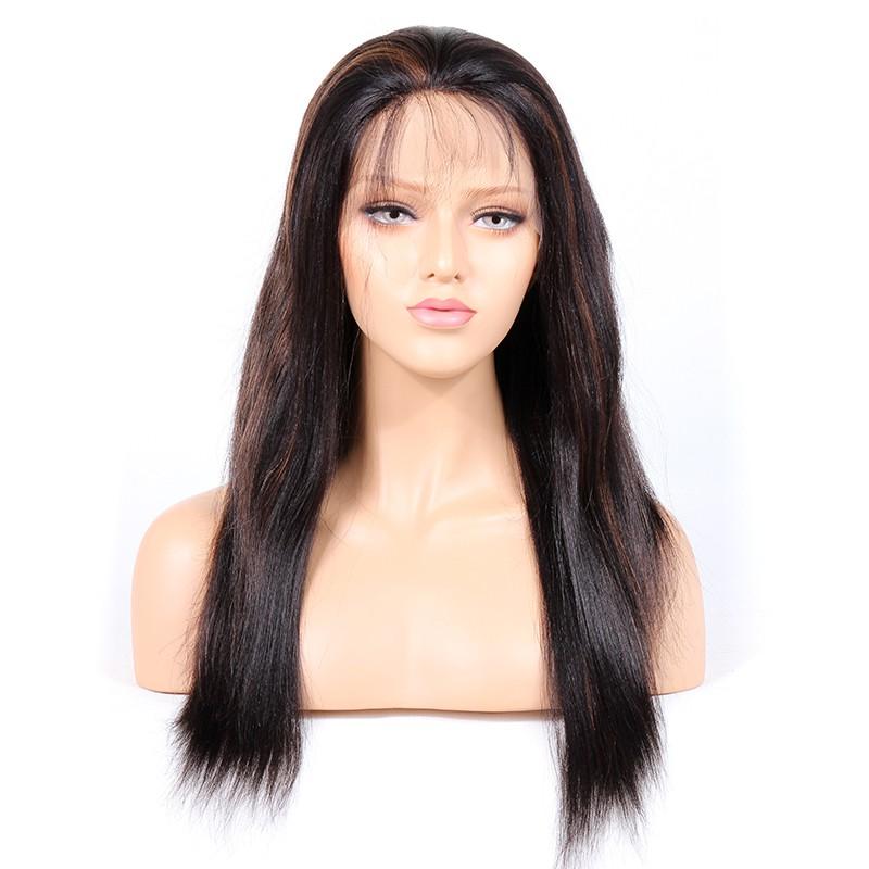 WowEbony Indian Remy Human Hair Yaki Straight Lace Front Wigs [HLLFW03]
