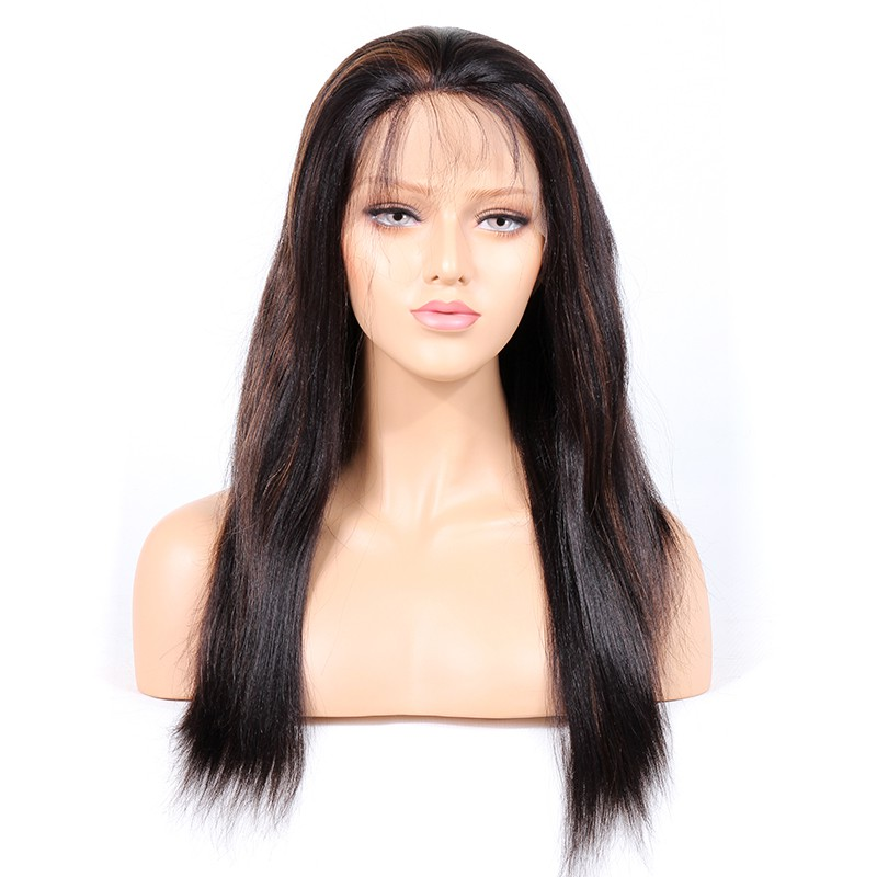 WowEbony #1B/30 Highlight Color Full Lace Wigs Indian Virgin Hair Light Yaki [HLFW03]