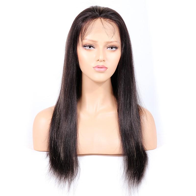 WowEbony Indian Virgin Human Hair Yaki Straight Lace Front Wigs [HLLFW02]